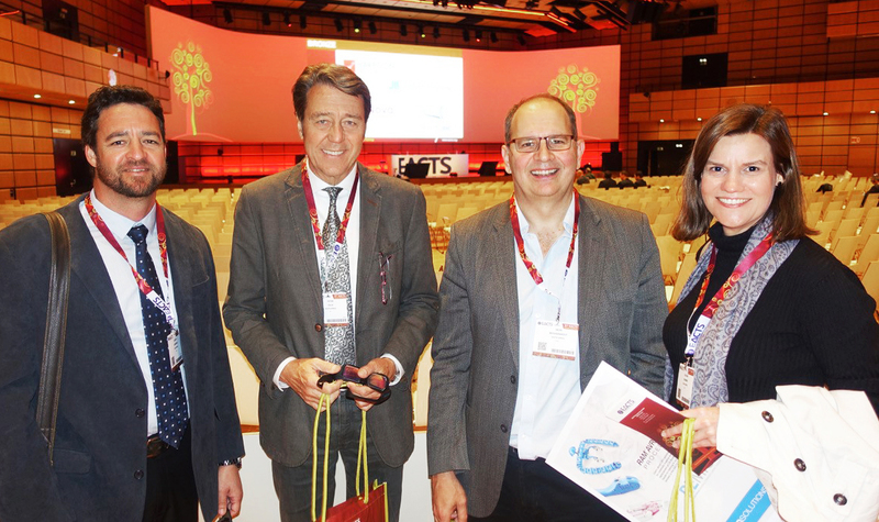 From left: Dr Jacques Scherman and Prof Peter Zilla (Christiaan Barnard Division of Cardiothoracic Surgery), and Prof Deon Bezuidenhout (Cardiovascular Research Unit) and Heather Coombes (COO of SAT) attend a meeting of the European Association of Cardio-Thoracic Surgery (EACTS) where the SAT team was awarded two global prizes for innovation in cardiac surgery.